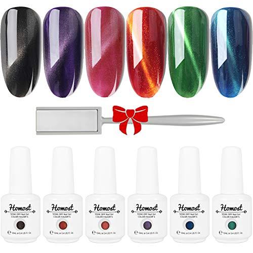 Homost 3D Cat Eye Gel Nail Polish Set, 6 Colors UV LED Gel Nail Polish Kit, Starter Gel Nail Manicure DIY Kit