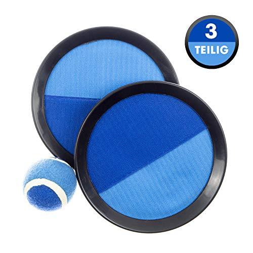 L+H Klettballspiel 19 cm in Premium Qualität | Fangballspiel Klett-Ballspiel für Kinder & Erwachsene | Hochwertiges Fangball-Spiel ideal als Spielzeug & Beschäftigung für Draussen im Garten