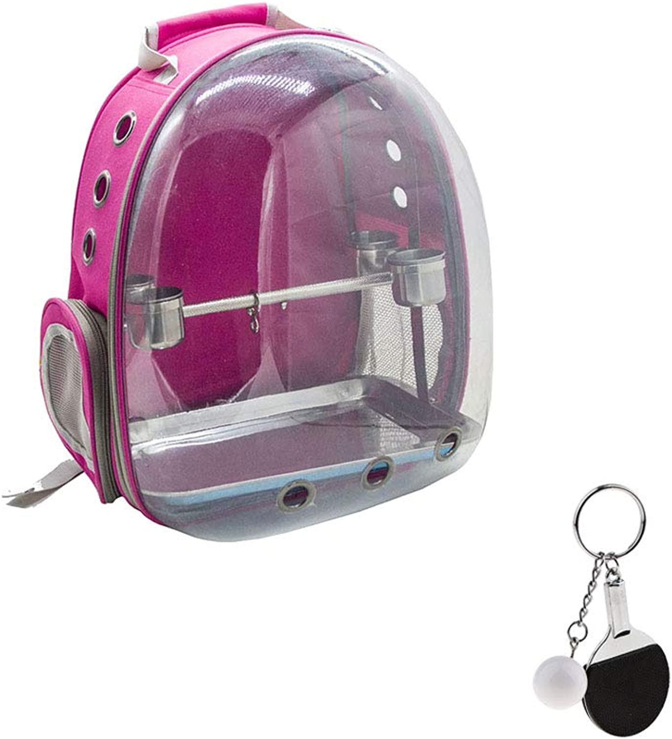 Baosity Bird Outdoor Travel Backpack Carrier pink Red Front Cover Clear Travel Cage Bag & Keychain