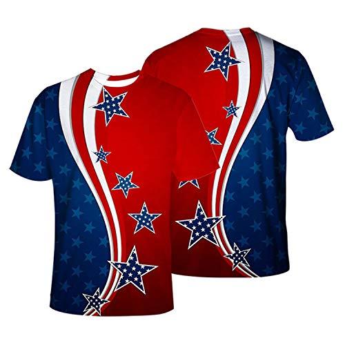 RENDONG Hombre Camiseta American Bandera Nacional del Emblema La Bandera De Eagle Estatua De La Libertad 3D Impreso Cuello Redondo Manga Corta para Todo Tipo De Deportes Y Fiestas,B,S