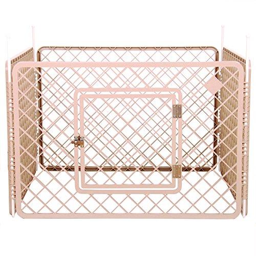 Iris Ohyama, parque para perros   jaula exterior   recinto   perrera 4 vallas - Pet Circle - H-604, plástico, beige, 6.3 kg, 90 x 90 x 60 cm