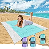 AlphaBeing Beach Blanket – Premium Nylon Sandproof Beach Blanket – Lightweight and Portable Waterproof Blanket – Fast and Easy Dry Sandless Beach Blanket – Beach Mat with Corner Pockets and 4 Stakes