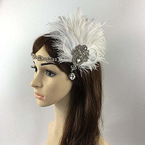 OULII Diadema de plumas de novia tocados boda Vintage pluma Fascinator casco...