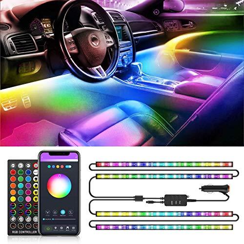 Tiras LED Coche RGB IC, 72 LEDs Luces LED APP Control Dos Líneas de Diseño a Prueba de Agua, Multi DIY Color Música Bajo el Tablero de Instrumentos Iluminación de Coches con Cargador de Coche,