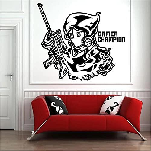 Xiaopang Pegatina de pared para consola de juegos con pistola Boy Calcomanías para habitación de niños juveniles Decoración de vinilo impermeable Salón de juegos Yx27