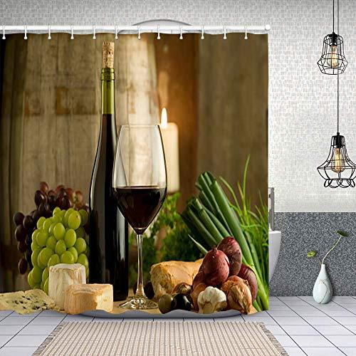 Tenda Doccia,vino rosso borgogna e cibo in stile francese,Tenda da Doccia in Tessuto di Poliestere impermeabile,Include 12 ganci Morbido e lavabile 180X180cm