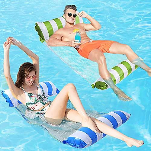 FANIER Hamaca Flotante Piscina,2Pack Hamaca de Agua 4 en 1 Piscina Tumbona de Inflar para Adultos,Tumbona Hinchable Colchoneta Hinchable Flotador Piscina Playa,Azul Claro/Verde