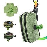 SEVVIS Dog Poop Bag Dispenser-Dog Poop Bag Holder 900D Waterproof Fabric-Dog Leash Waste Bag Dispenser Velcro Portable with Carabiner Clip,2 Auto Lock Zippers Large Storage,2 Packs