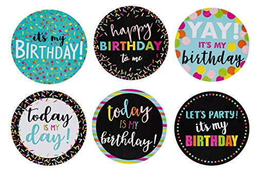Pegatinas de cumpleaños para cumpleaños, diseño redondo de 504 piezas, rollo de pegatinas con 6 diseños variados, regalos de fiesta de cumpleaños, 5 x 5 cm