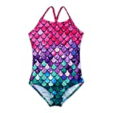 HONISEN Big Girls One Pieces Swimsuit Cute Swimwear Bathing Suits Scale 7T