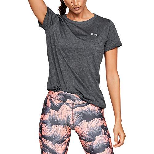 Under Armour Women's Regular Tech Short-Sleeve T-Shirt, Carbon Heather (090)/Metallic Silver, XX-Large