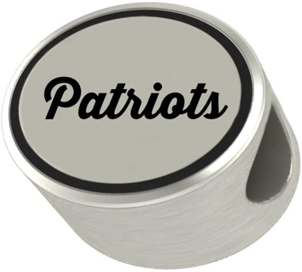 Patriots Oval Bead Charm Universal European Slide On Charm - Classic & Original Style Perfect for Bracelets, Necklaces, DIY Jewelry
