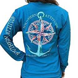 Southern Attitude Compass Rose Anchor Sapphire Blue Long Sleeve Shirt