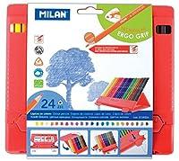 MILAN プラスチックケース入 三角色鉛筆 24色