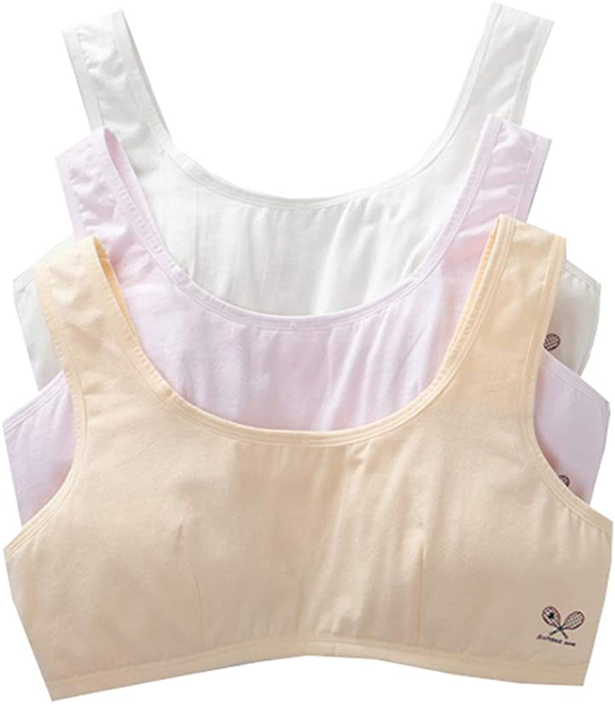 Age 8-14 Girls 1st Simple Training Bras Wide Strap Pull-On Bralette with Thin Padded