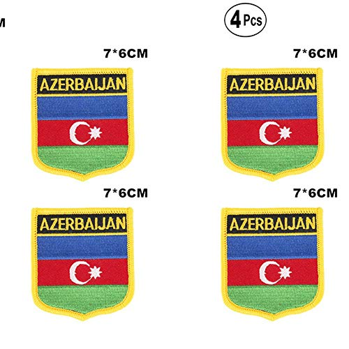 Azerbeidzjan Shiled Shape vlag patches nationale vlag patches voor Cothing DIY Decoratie