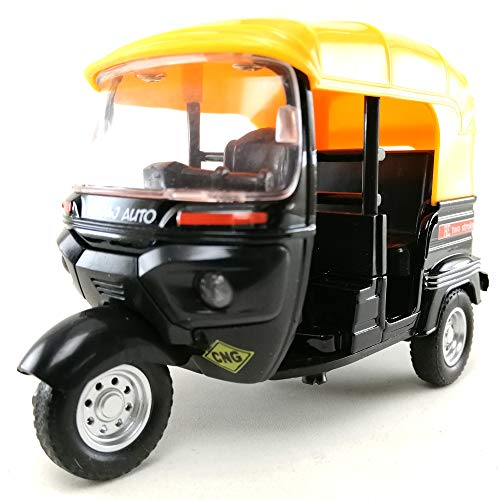 8e8.mona.shop Tuk Tuk India Three Wheels Open Air Taxi Die-cast Model 1:14 Scale Black Color Toy,Car,Collection Hobby,Collectible,Souvenirs,Gift,Decorative