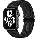 GBPOOT Correa de Compatible con Apple Watch 38mm 40mm 42mm 44mm,Correa Solo Loop Deportiva con Nylon de Repuesto Compatible Iwatch Serie 6/SE/5/4/3/2/1,Negro puro,42/44mm