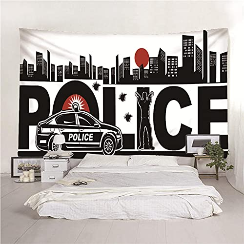 H/H 3D Tapestry Police Car A2016 Tapestries Yoga Mat Beach Towel Blanket,Beach Sheet, Table Cloth,Decorative Wall Hanging 350X256Cm