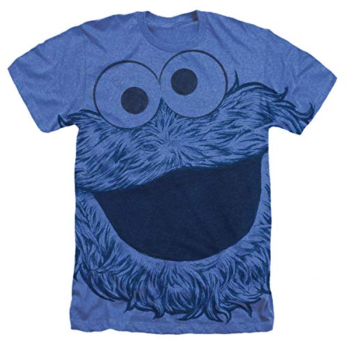 Sesame Street Cookie Monster Face All Over Heather T Shirt & Stickers (Medium) Royal Blue