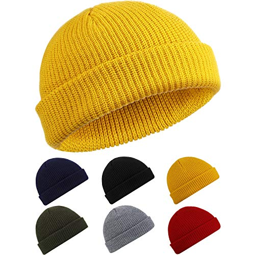 SATINIOR Trawler Beanie Watch Hut Rollup Edge Schädeldecke Fisherman Winter Beanie Hut Unisex, Gelb, M