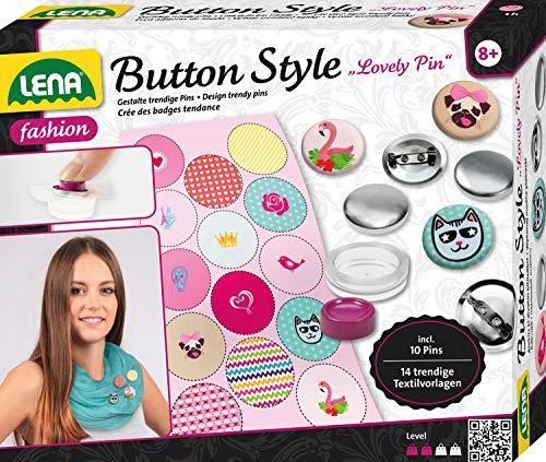 Lena 42564 Bastelset Style Lovely Pin, Komplettset für Coole Buttons mit 10 Metall Knöpfe, Werkzeug, 14 Textilvorlagen Tieren, Fashion Mode Set für Kinder ab 8 Jahre