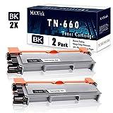 2-Pack Black TN-660 Toner Cartridge Repalcement for Brother HL-L2300D L2305W L2315DW L2320D L2360DW L2380DW MFC-L2680W L2685DW L2700DW L2380DW L2720DW L2707DW DCP-L2520DW L2540DW Printer.
