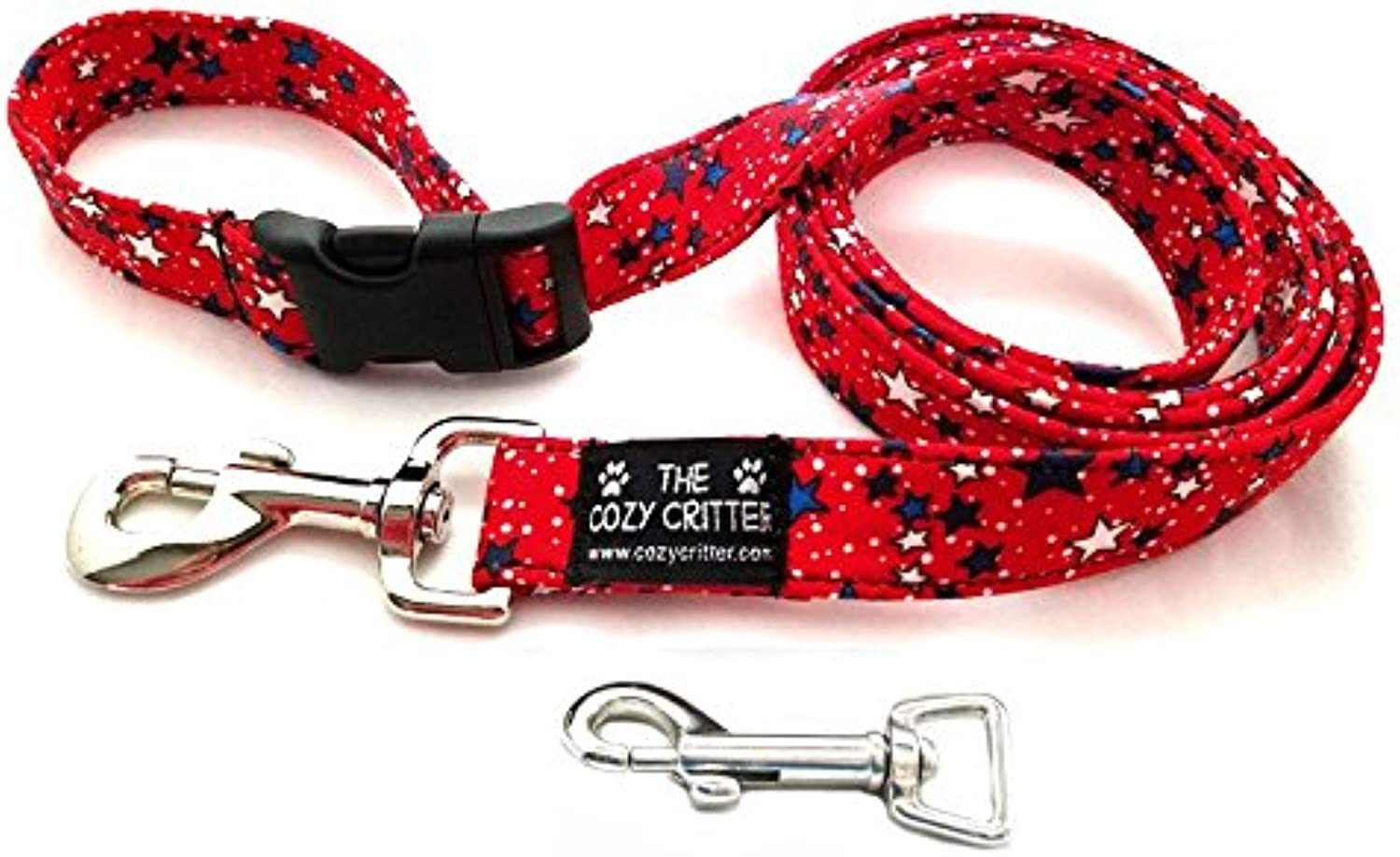 Cozy Critter Red Stars Patriotic 4th of July Dog Leash (6ftx1 )