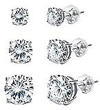 Sllaiss 925 Sterling Silver Swarovski Crystal Earrings Sets Stud Earrings for Women(3 Pairs 4mm 6mm 8mm) (White)