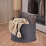 Blanket Basket XXL Cotton Rope Basket Large Woven Basket, LONTAN Design Decorative Woven Storage Basket Large Toy Basket for Towels, Leather Handles,20''X20''X13'', Grey&Round