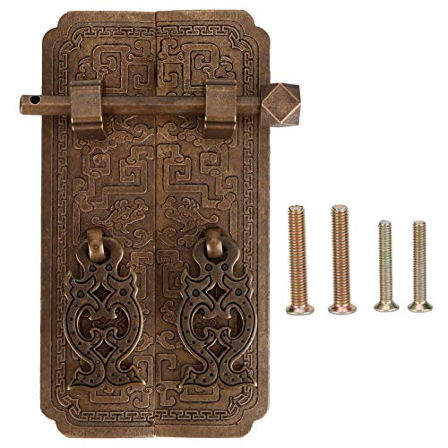 Door Handle Set,Chinese Style Antique Copper Pull Handles Cabinet Wardrobe Large Small Screw Copper Accessory,for Door Decoration