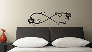 (36x11) Hibiscus Faith forever Infinite Symbol Wall Vinyl Decal Quote Art Saying inspirational lettering Flower Stencil wall decor art decal