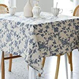 Pastoral Square Tablecloth - 52 x 52 Inch - Linen Fabric Table Cloth - Washable Table Cover with Dust-Proof Wrinkle Resistant for Restaurant, Picnic, Indoor and Outdoor Dining, Floral (Dark Blue)