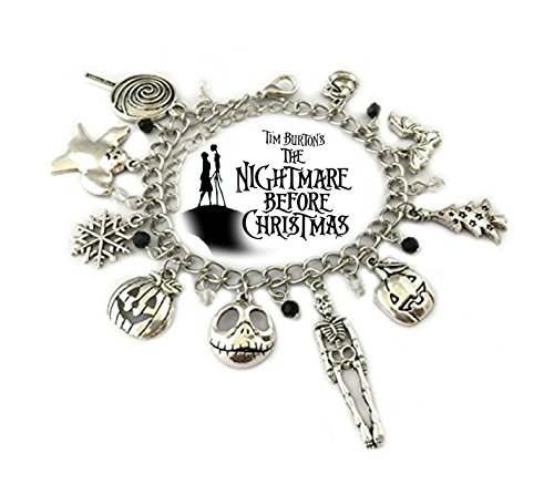 Nightmare Before Christmas 9 Themed Charms Silvertone Metal Charm Bracelet