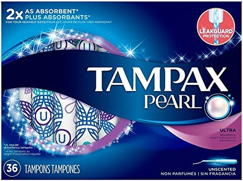 Tampax Pearl Tampons Ultra Absorbency Unscented 36 Each (Pack of 4)