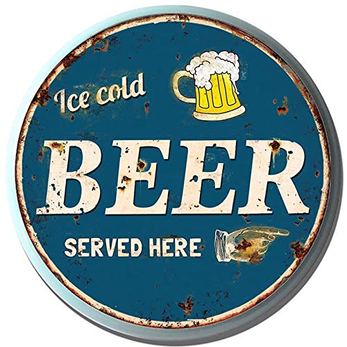 Primus Metall Wand Flaschenverschluss Schild Art 33cm / 34cm Garage Schlafzimmer Schuppen (Bier serviert Hier Kreis), One Size