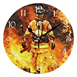 Firefighter Fire DEPT. Fire Rescue Round Wall Clock Silent Non Ticking Custom Acrylic Painted Easy to Read Non-Ticking Home Art Bedroom Living Dorm Room Decor 9.45'x9.45'