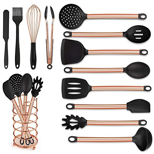 MIBOTE Kitchen Utensils Set with Holder, Silicone Cooking Kitchen Utensils Set with Stainless Steel Handle - Copper