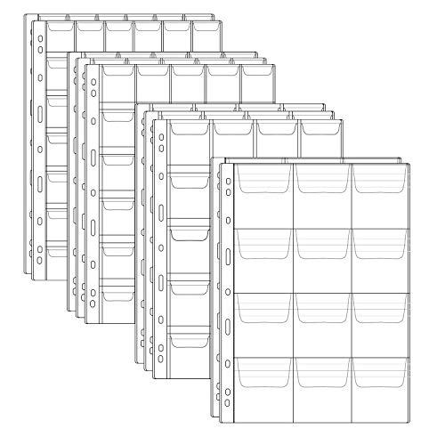 Homgaty - 10 hojas de colección de monedas de plástico, fundas protectoras de monedas con sello de página para álbum de bolígrafos, 4 tamaños 12, 20, 30 y 42 páginas de bolsillo