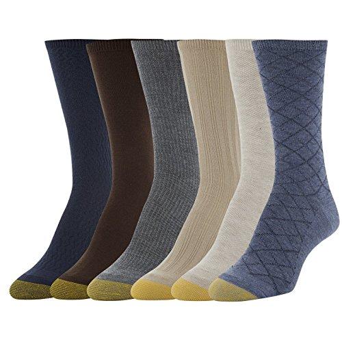 Gold Toe Women's Casual Texture Crew Socks, 6 Pairs, Denim Diamond Plaid/Oatmeal Herring/Khaki Tuckstitch Ribs/Midnight Diamonds/Charcoal Plaid/Solid Chocolate, Shoe Size: 6-9