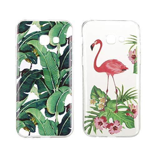 [2 Pièces] Coque pour Samsung Galaxy A3 2017 A320, Misstars Ultra Mince Transparente Silicone TPU Gel Souple Housse de Protection avec Belle Motif Imprimé Étui, Feuille de Palmier + Tropical Flamingo