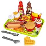 Kinderplay Accessori Set Fast Food Set Hamburger McDonald - Burger Set Cucina Cibo Alimenti Giocattolo per Bambini Giochi Regalo per Bambini Bambina 3 Anni, Giocattolo Smontabile, KP0785