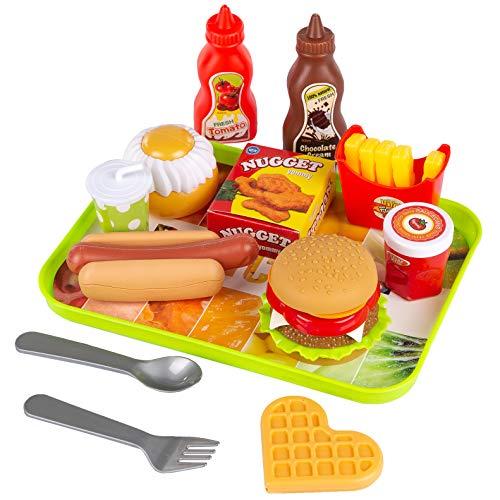 Kinderplay Hamburger Set Burger Pommes Küchenspielzeug Lebensmittel Spielzeug - Outdoor Spiel Essen Kinder Küchenspielzeug, Küche Hamburger, 13 Verschiedenen Teilen, KP0785