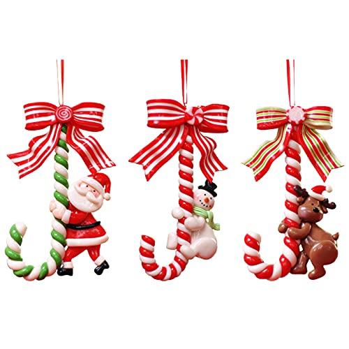 HYLYING 6 decorazioni natalizie per bastoncini di caramella, Babbo Natale, pupazzo di neve, renna, decorazione natalizia da appendere per feste, Capodanno, decorazione della casa