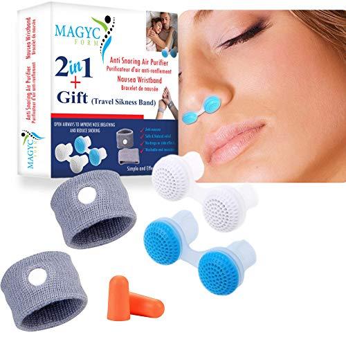 Purificador de aire Dispositivo antirronquidos para un sueño confortable. Dilatador nasal contra los ronquidos. Pulseras de acupresión para aliviar las náuseas matutinas, el dolor de estómago.