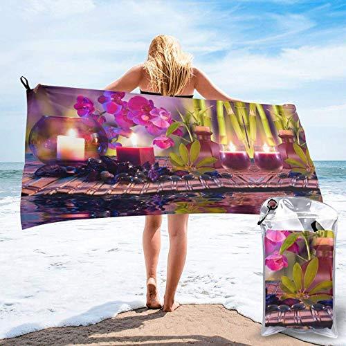 FLDONG Toalla de secado rápido con diseño de flores en piedras de masaje y microfibra de impresión de bambú, ultra suave, compacta, adecuada para camping, gimnasio, playa, hogar 81.5 x 163 cm