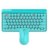 Docooler HXSJ K67 Teclado inalámbrico Mouse Set, 2.4G Inalámbrico Retro Suspensión Redonda Keycap Keyboard Mouse Set Interfaz,USB Teclado inalámbrico y Mouse Set (Azul)