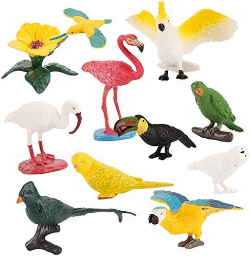 10 Stück Realistische Vogelfiguren Tiere Figuren Plastik Miniatur Simulation Vogel Papagei Flamingo Reiher Wissenschaft Lehre Spielzeug