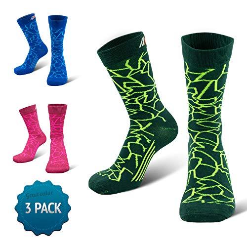 COMPRESSION FOR ATHLETES 3er Packung – CAMO Editions - Hochwertiger Quarter Socken von CFA Perfekt für alle Sportarten, Für Männer und Frauen. In der EU hergestellt. (Grün Camo 3-Paare, 35-38)