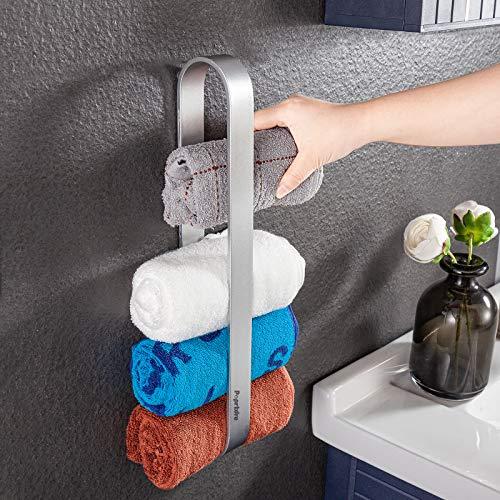 Handtuchhalter Selbstklebend Ohne Bohren Gästehandtuchhalter, 40cm Handtuchstange für Gerollte Gästetücher, Aluminium, Matt … …